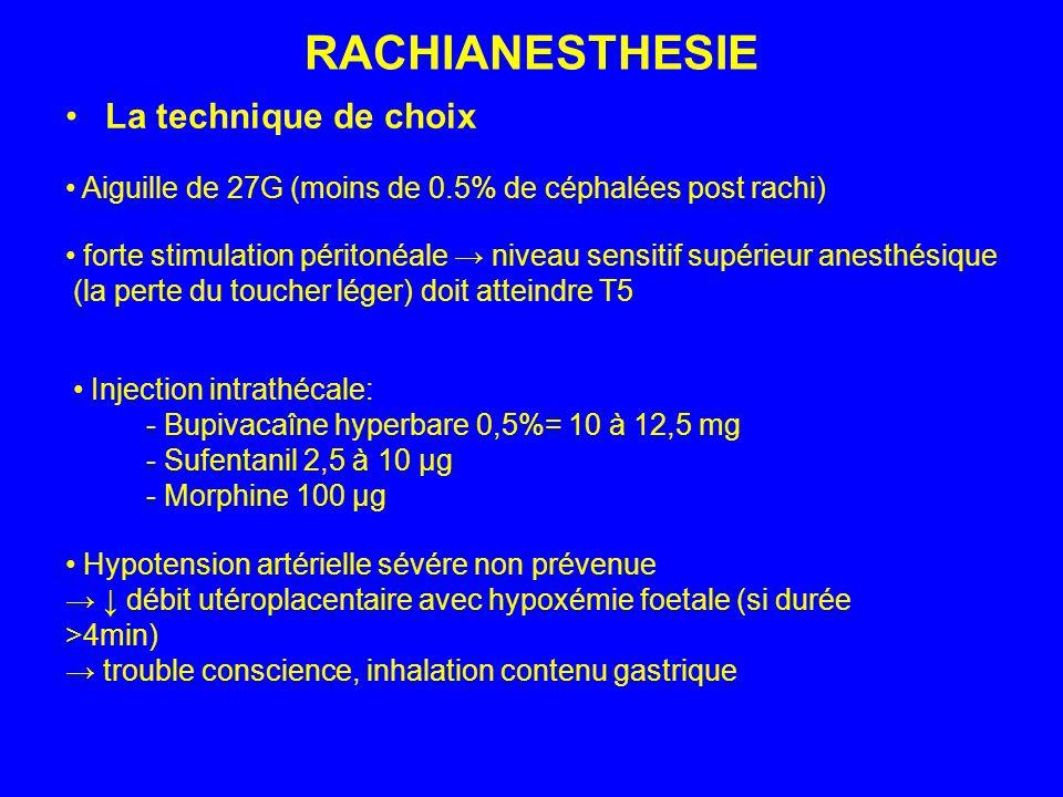 RACHIANESTHESIE La technique de choix Hypotension artérielle sévére non prévenue débit utéroplacentaire avec hypoxémie foetale (si durée >4min) troubl