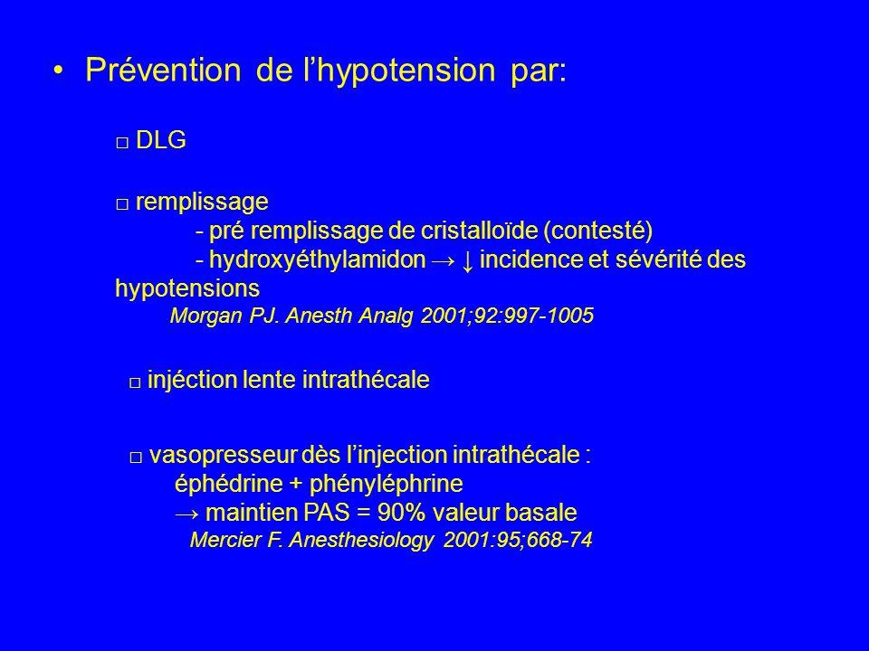 Prévention de lhypotension par: DLG remplissage - pré remplissage de cristalloïde (contesté) - hydroxyéthylamidon incidence et sévérité des hypotensio