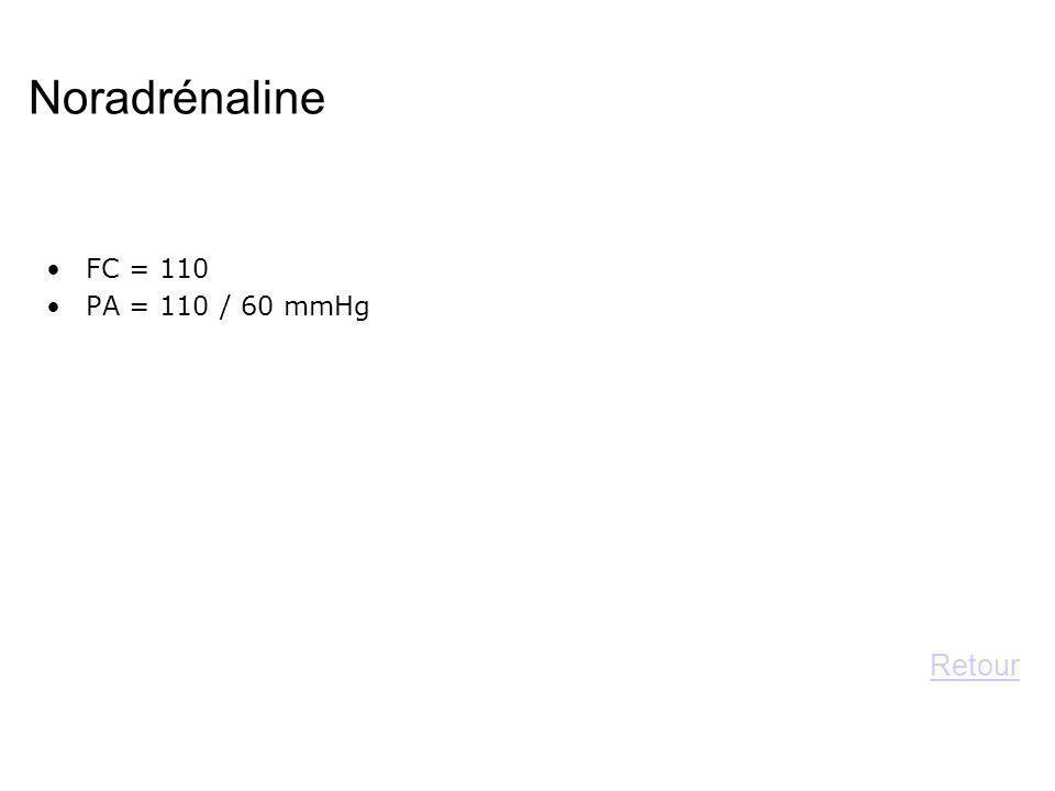 Noradrénaline FC = 110 PA = 110 / 60 mmHg Retour