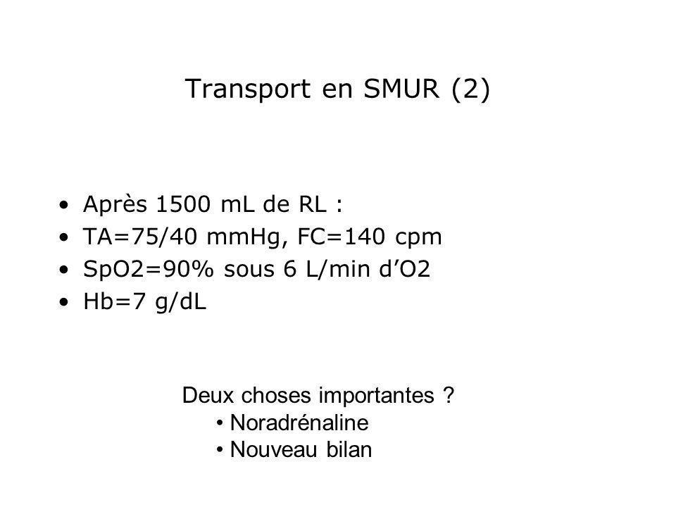 Transport en SMUR (2) Après 1500 mL de RL : TA=75/40 mmHg, FC=140 cpm SpO2=90% sous 6 L/min dO2 Hb=7 g/dL Deux choses importantes ? Noradrénaline Nouv