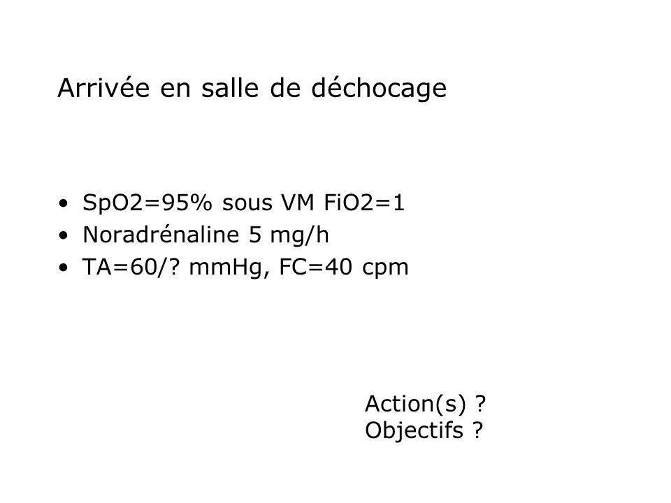 Arrivée en salle de déchocage SpO2=95% sous VM FiO2=1 Noradrénaline 5 mg/h TA=60/? mmHg, FC=40 cpm Action(s) ? Objectifs ?