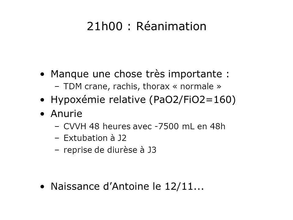 21h00 : Réanimation Manque une chose très importante : –TDM crane, rachis, thorax « normale » Hypoxémie relative (PaO2/FiO2=160) Anurie –CVVH 48 heure