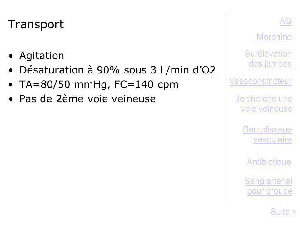 Transport Agitation Désaturation à 90% sous 3 L/min dO2 TA=80/50 mmHg, FC=140 cpm Pas de 2ème voie veineuse Antibiotique AG Remplissage vasculaire Sui