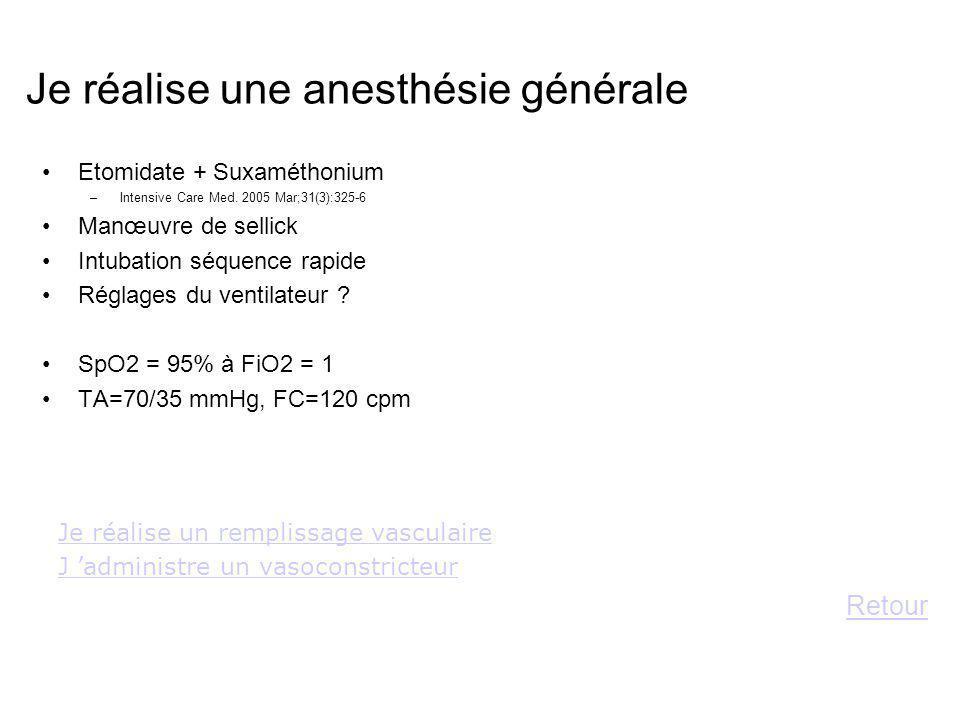Je réalise une anesthésie générale Etomidate + Suxaméthonium –Intensive Care Med. 2005 Mar;31(3):325-6 Manœuvre de sellick Intubation séquence rapide