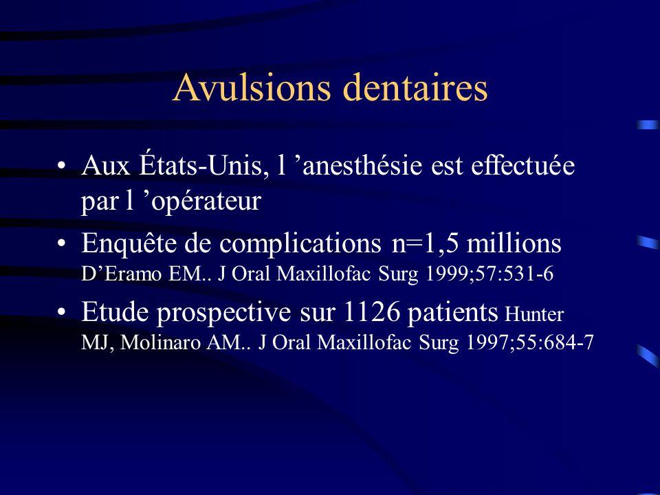 Avulsions dentaires Aux États-Unis, l anesthésie est effectuée par l opérateur Enquête de complications n=1,5 millions DEramo EM.. J Oral Maxillofac S