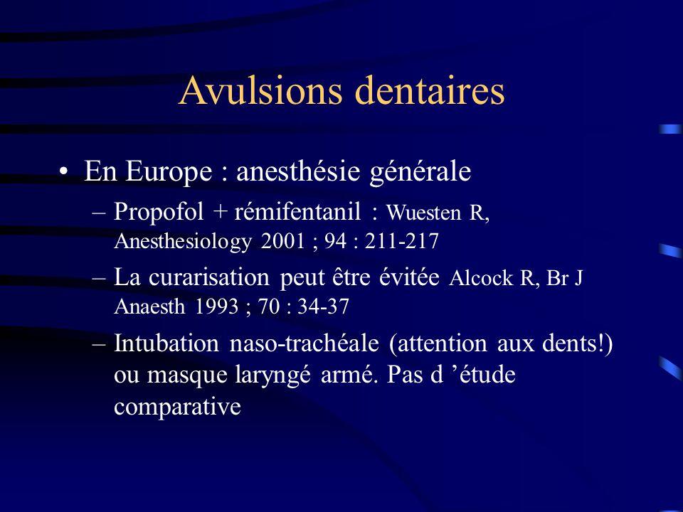 Avulsions dentaires En Europe : anesthésie générale –Propofol + rémifentanil : Wuesten R, Anesthesiology 2001 ; 94 : 211-217 –La curarisation peut êtr