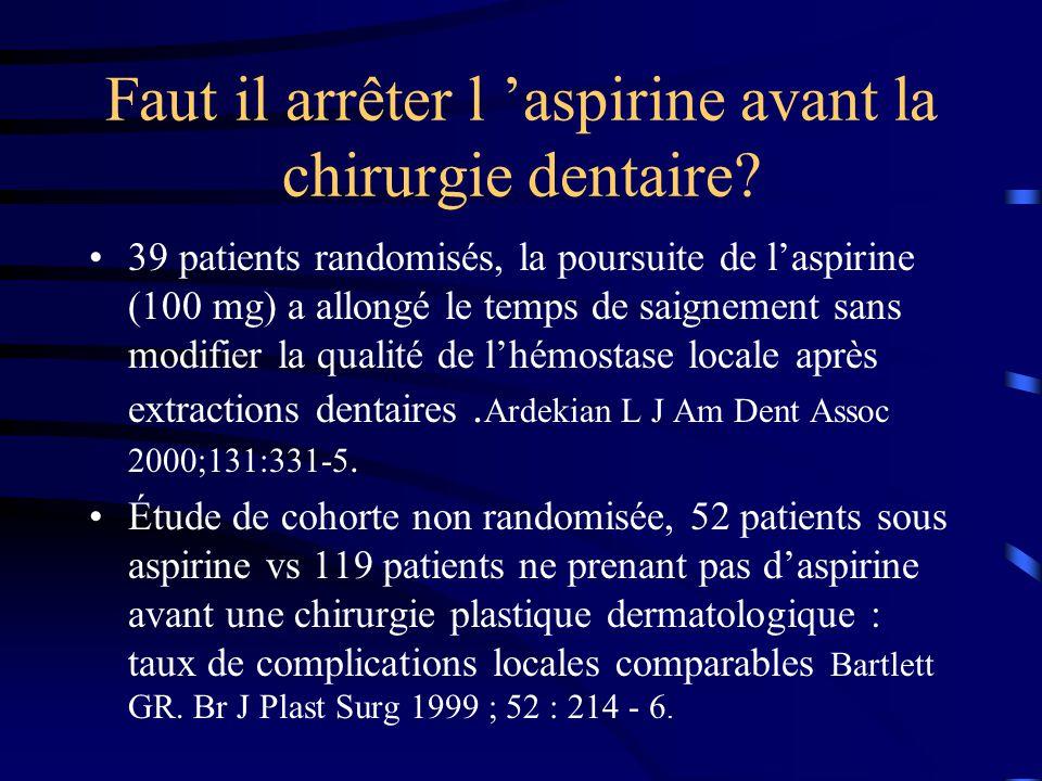 Faut il arrêter l aspirine avant la chirurgie dentaire? 39 patients randomisés, la poursuite de laspirine (100 mg) a allongé le temps de saignement sa