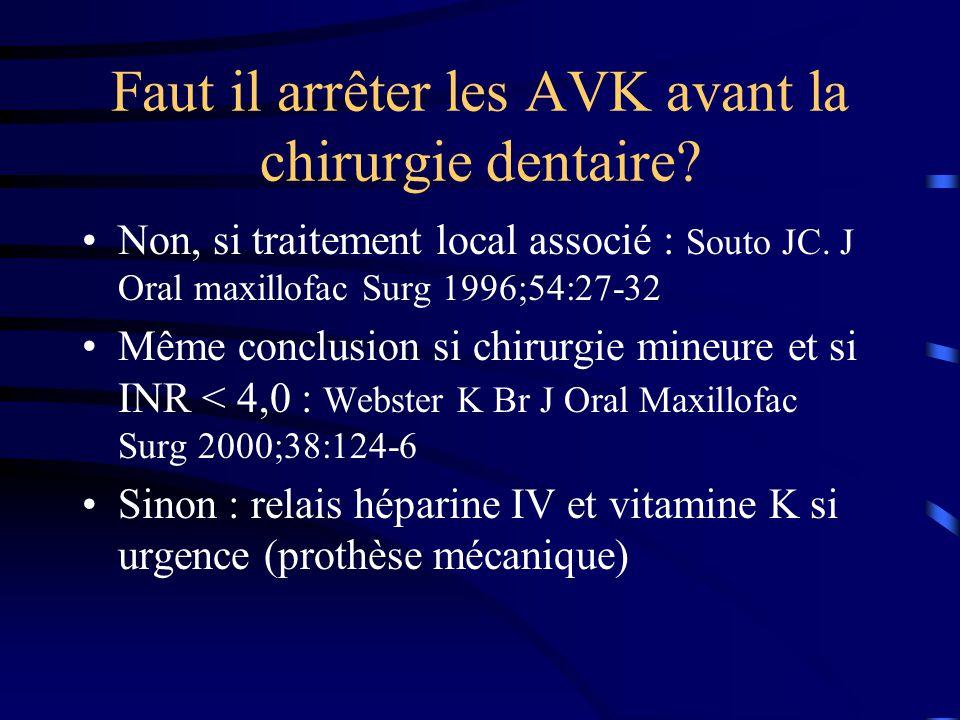 Faut il arrêter les AVK avant la chirurgie dentaire? Non, si traitement local associé : Souto JC. J Oral maxillofac Surg 1996;54:27-32 Même conclusion