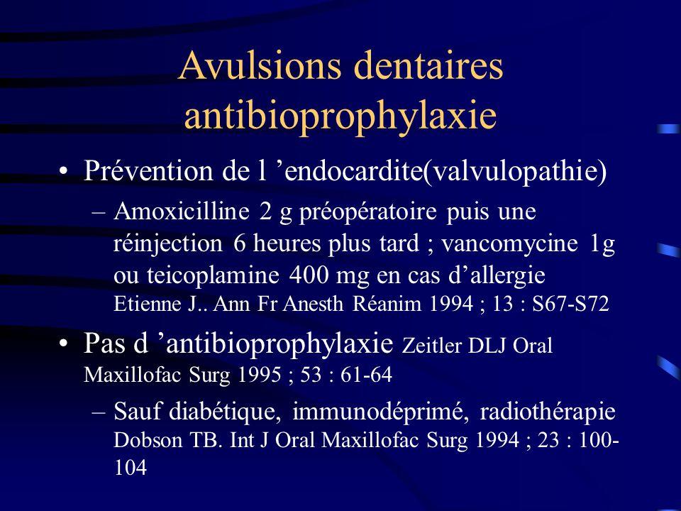 Avulsions dentaires antibioprophylaxie Prévention de l endocardite(valvulopathie) –Amoxicilline 2 g préopératoire puis une réinjection 6 heures plus t