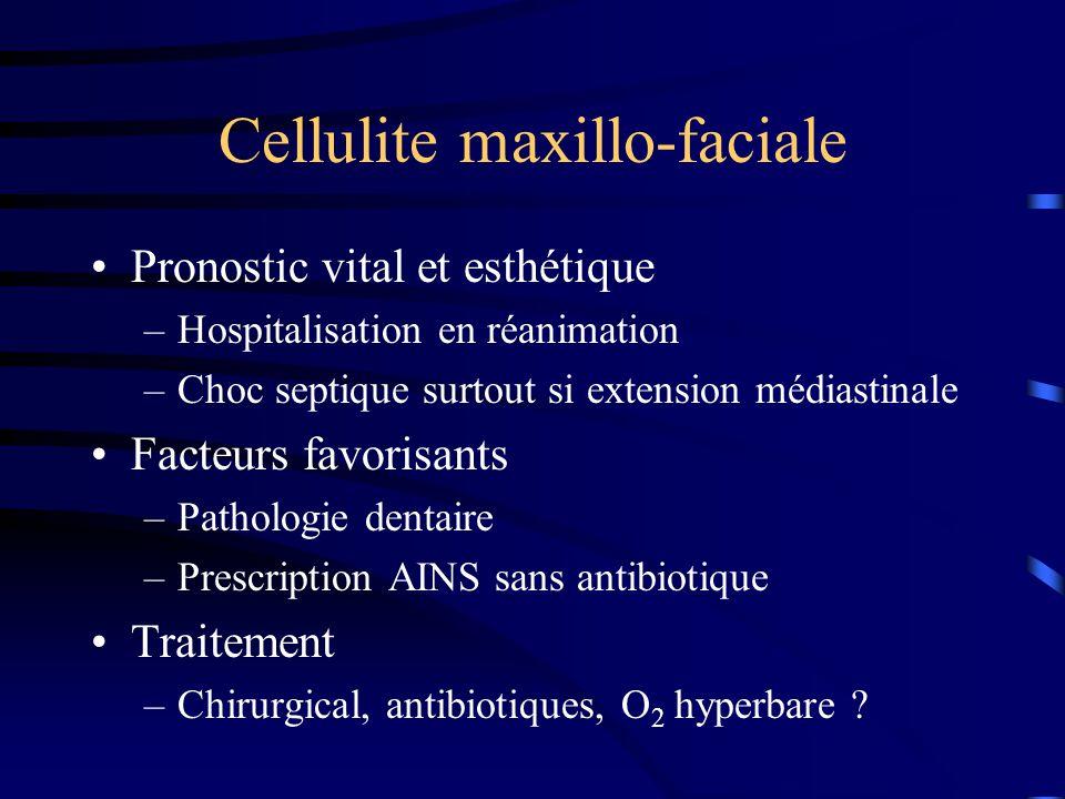 Cellulite maxillo-faciale Pronostic vital et esthétique –Hospitalisation en réanimation –Choc septique surtout si extension médiastinale Facteurs favo