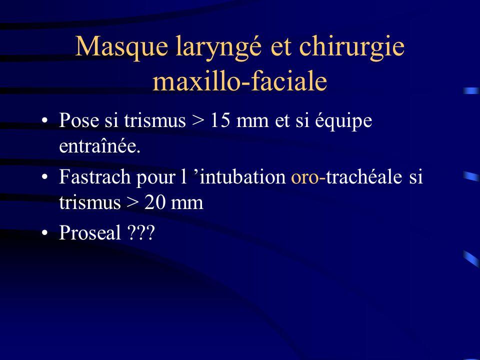 Chirurgie maxillo-faciale : place du masque laryngé armé Protection des VAS comparable Webster AC, Anesth Analg 1999 ; 88 : 421-425 Moins de bronchospasme chez l enfant enrhumé Tait AR, Anesth Analg 1998 ; 86 : 706-711 Meilleure compétence laryngée postop.