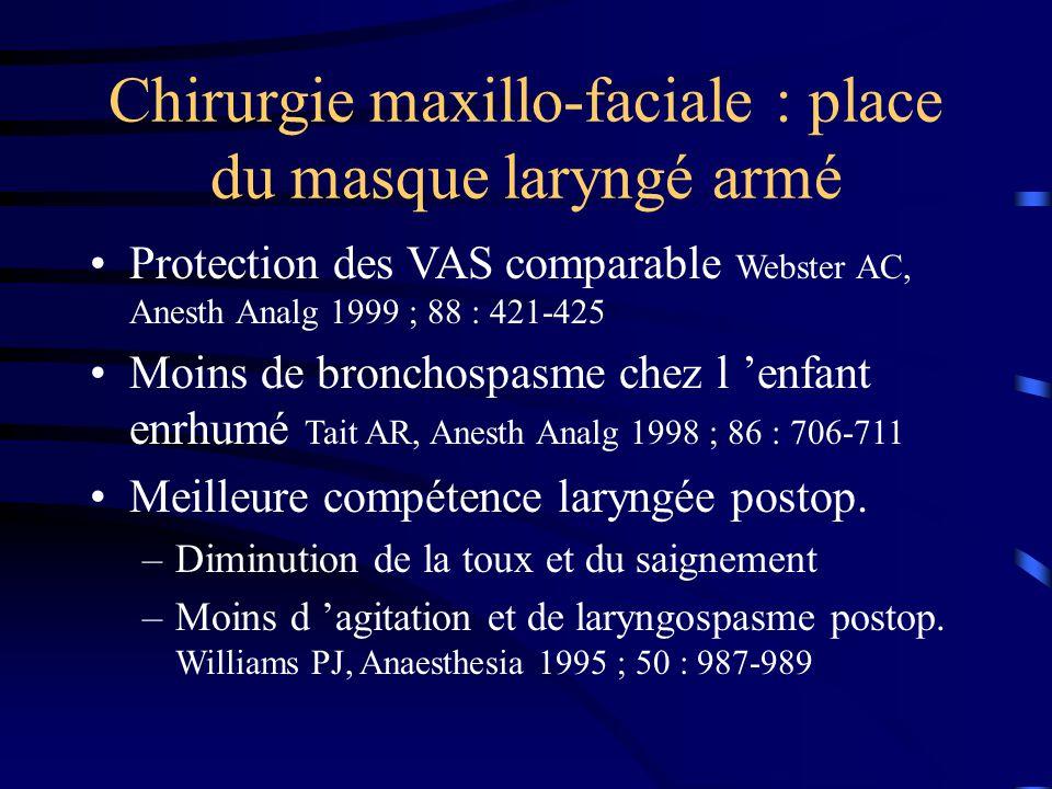 Chirurgie maxillo-faciale : place du masque laryngé armé Protection des VAS comparable Webster AC, Anesth Analg 1999 ; 88 : 421-425 Moins de bronchosp
