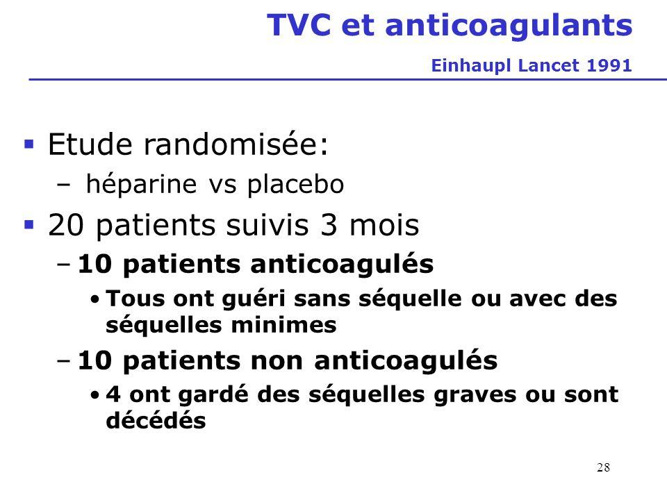 28 TVC et anticoagulants Einhaupl Lancet 1991 Etude randomisée: – héparine vs placebo 20 patients suivis 3 mois –10 patients anticoagulés Tous ont gué