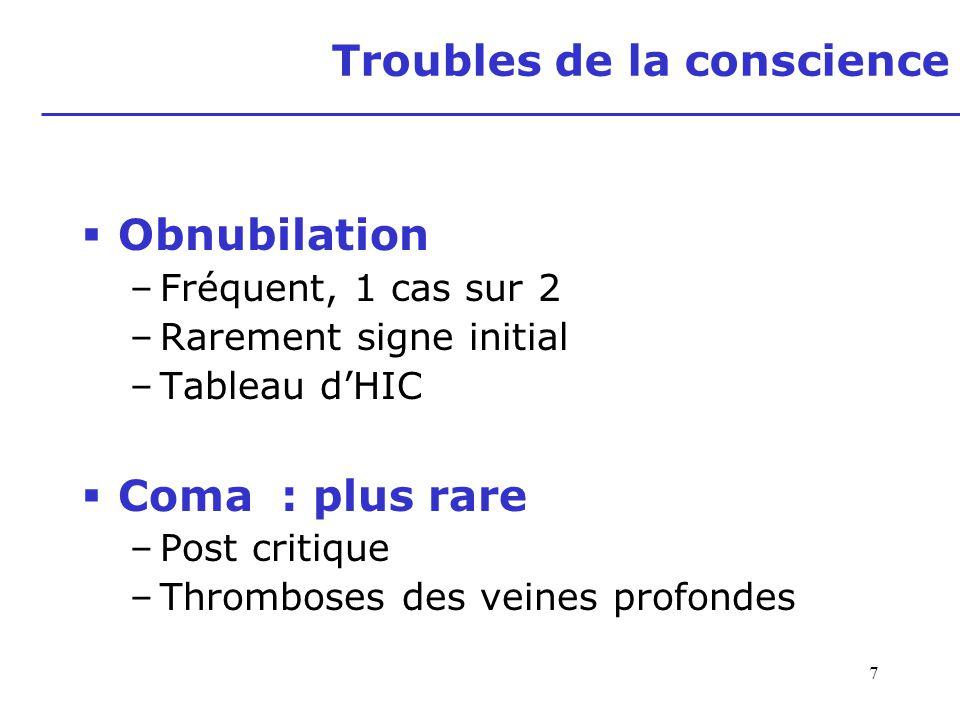 7 Troubles de la conscience Obnubilation –Fréquent, 1 cas sur 2 –Rarement signe initial –Tableau dHIC Coma : plus rare –Post critique –Thromboses des
