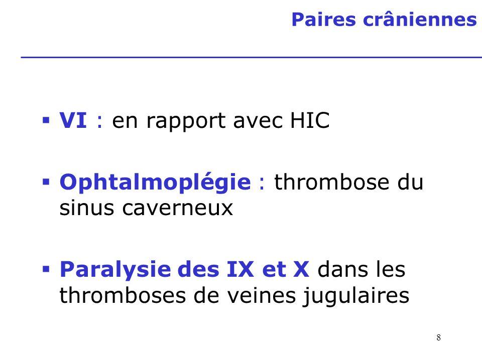 8 Paires crâniennes VI : en rapport avec HIC Ophtalmoplégie : thrombose du sinus caverneux Paralysie des IX et X dans les thromboses de veines jugulai