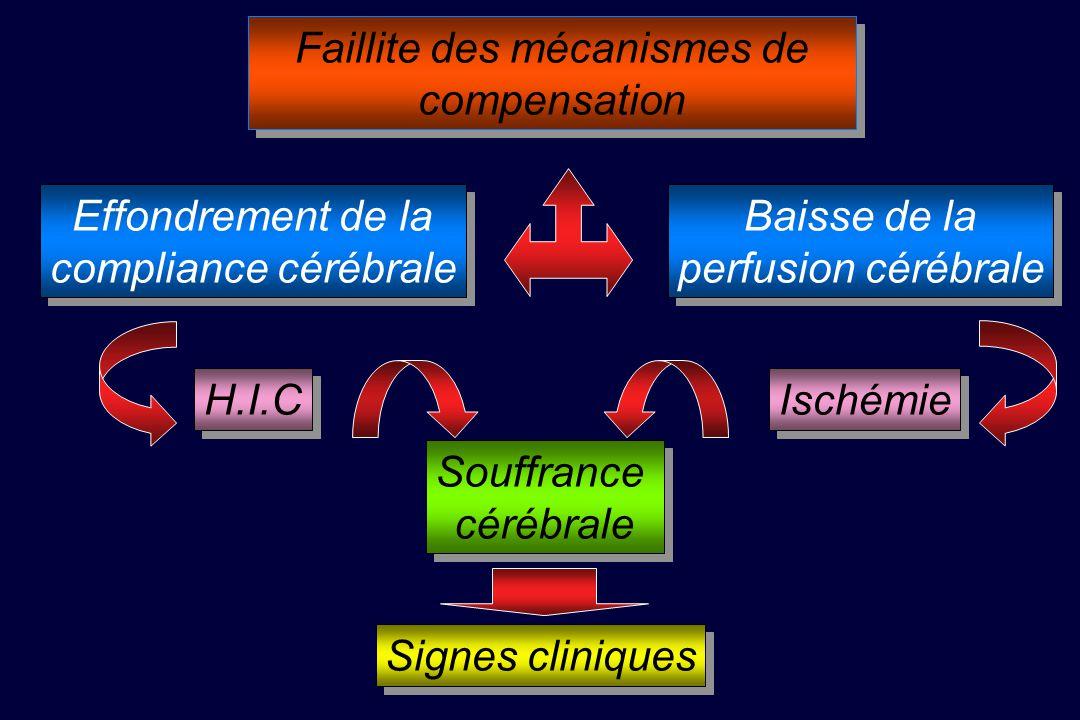 Effondrement de la compliance cérébrale Effondrement de la compliance cérébrale Baisse de la perfusion cérébrale Baisse de la perfusion cérébrale Souffrance cérébrale Souffrance cérébrale Faillite des mécanismes de compensation H.I.C Ischémie Signes cliniques