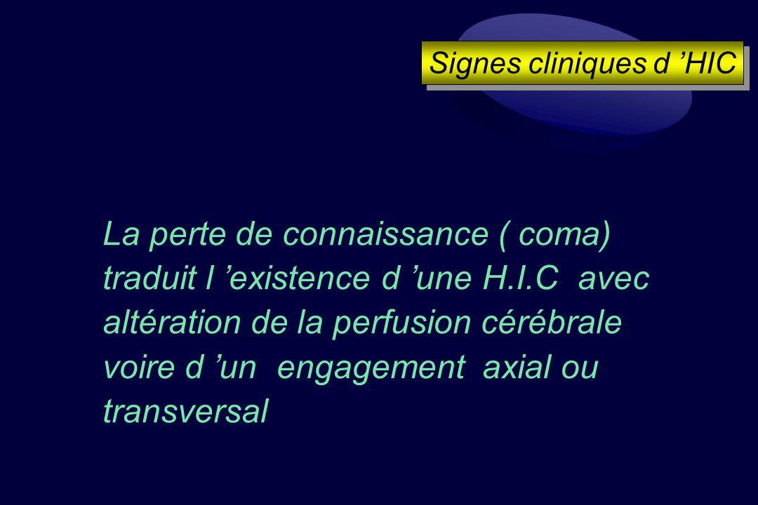 La perte de connaissance ( coma) traduit l existence d une H.I.C avec altération de la perfusion cérébrale voire d un engagement axial ou transversal Signes cliniques d HIC