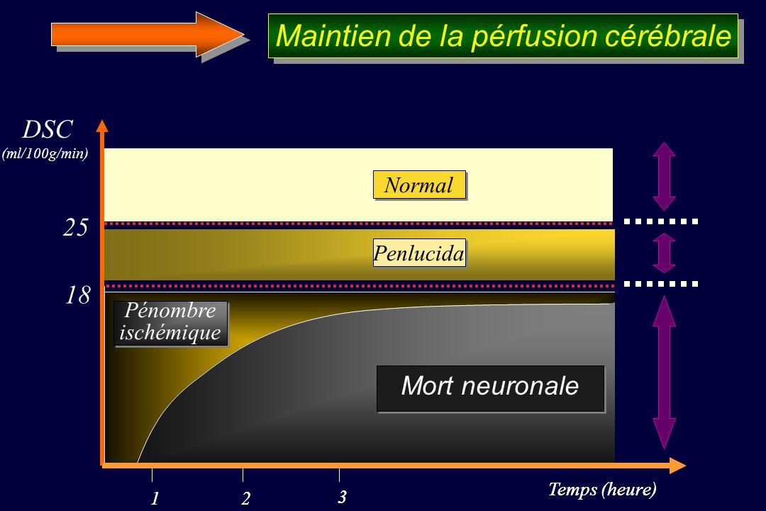 Temps (heure) DSC (ml/100g/min) 12 3 Temps (heure) 12 3 Mort neuronale 18 Mort neuronale Penlucida 25 Normal Pénombre ischémique Pénombre ischémique Maintien de la pérfusion cérébrale