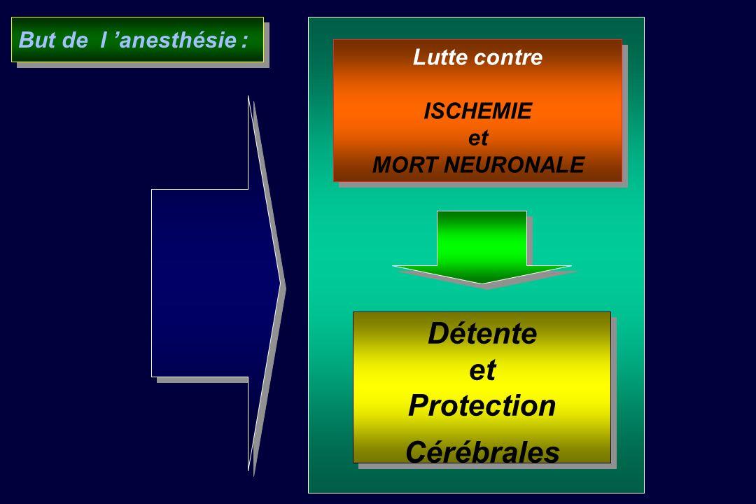 Détente et Protection Cérébrales Détente et Protection Cérébrales Lutte contre ISCHEMIE et MORT NEURONALE Lutte contre ISCHEMIE et MORT NEURONALE But de l anesthésie :