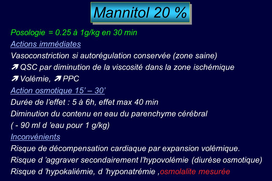 OSMOTHERAPIE Mannitol 20 % Sérum salé hypertonique