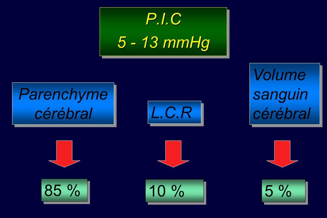 Rappels Physiologiques Cerveau : 2 % poids du corps Consommation O 2 = CMRO 2 : 20 % VO 2 QSC = 12 – 15% DC = 50 ml/100g/mn Pression intracrânienne (P