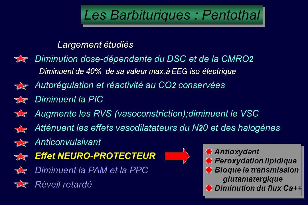 Les Barbituriques : Pentothal Largement étudiés Largement étudiés Diminution dose-dépendante du DSC et de la CMRO 2 Diminuent de 40% de sa valeur max.à EEG iso-électrique Diminuent de 40% de sa valeur max.à EEG iso-électrique Autorégulation et réactivité au CO 2 conservées Diminuent la PIC Augmente les RVS (vasoconstriction);diminuent le VSC Atténuent les effets vasodilatateurs du N 2 0 et des halogènes Anticonvulsivant Effet NEURO-PROTECTEUR Diminuent la PAM et la PPC Réveil retardé Antioxydant Peroxydation lipidique Bloque la transmission glutamatergique Diminution du flux Ca++ Antioxydant Peroxydation lipidique Bloque la transmission glutamatergique Diminution du flux Ca++