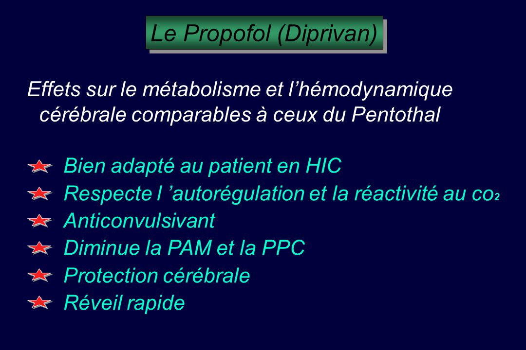 Effets sur le métabolisme et lhémodynamique cérébrale comparables à ceux du Pentothal Bien adapté au patient en HIC Respecte l autorégulation et la réactivité au co 2 Anticonvulsivant Diminue la PAM et la PPC Protection cérébrale Réveil rapide Le Propofol (Diprivan)