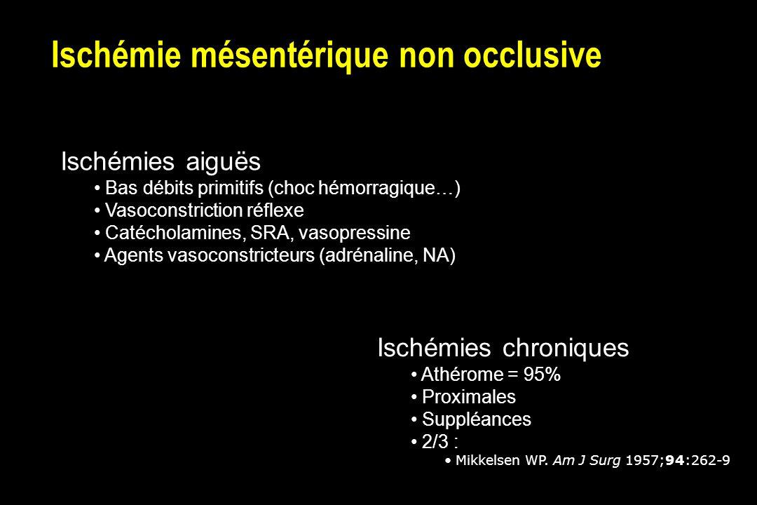 Ischémie mésentérique non occlusive Ischémies aiguës Bas débits primitifs (choc hémorragique…) Vasoconstriction réflexe Catécholamines, SRA, vasopressine Agents vasoconstricteurs (adrénaline, NA) Ischémies chroniques Athérome = 95% Proximales Suppléances 2/3 : Mikkelsen WP.