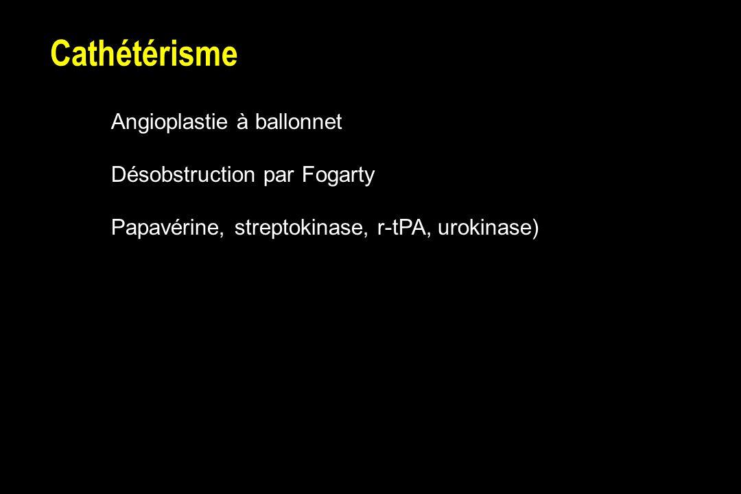 Cathétérisme Angioplastie à ballonnet Désobstruction par Fogarty Papavérine, streptokinase, r-tPA, urokinase)