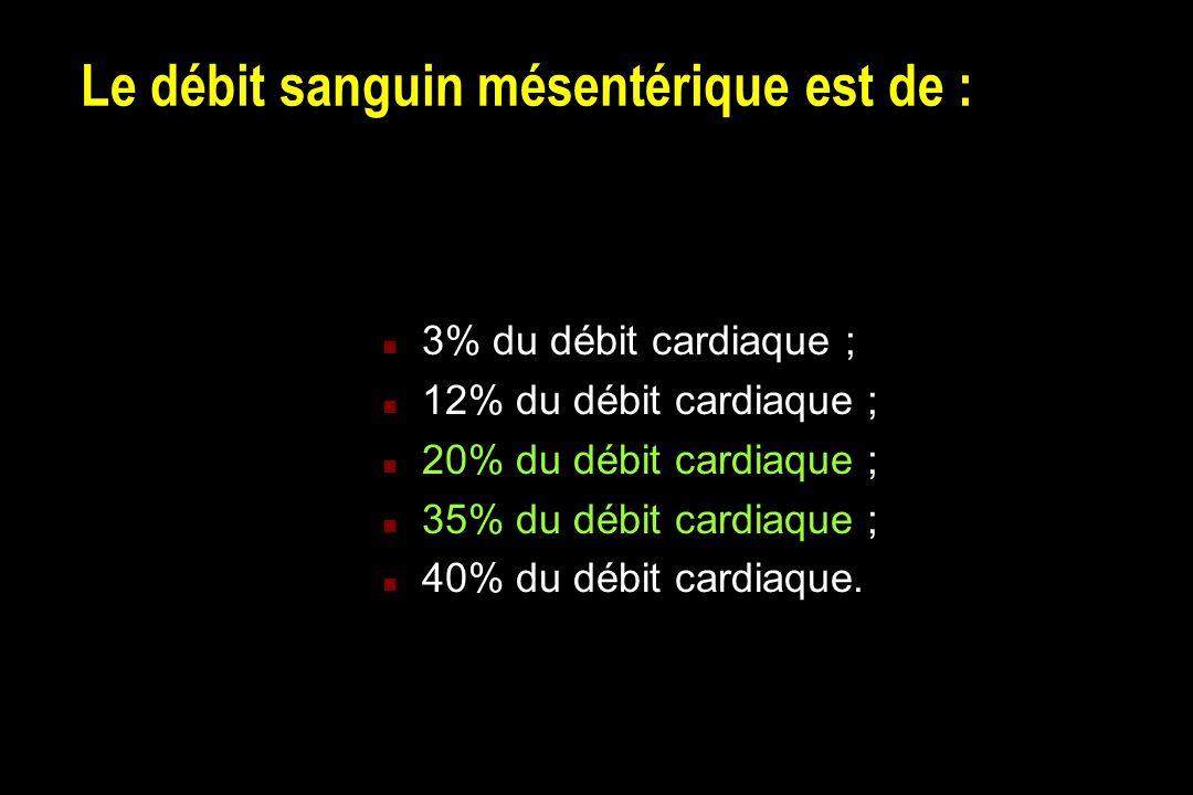 Le débit sanguin mésentérique est de : n 3% du débit cardiaque ; n 12% du débit cardiaque ; n 20% du débit cardiaque ; n 35% du débit cardiaque ; n 40% du débit cardiaque.