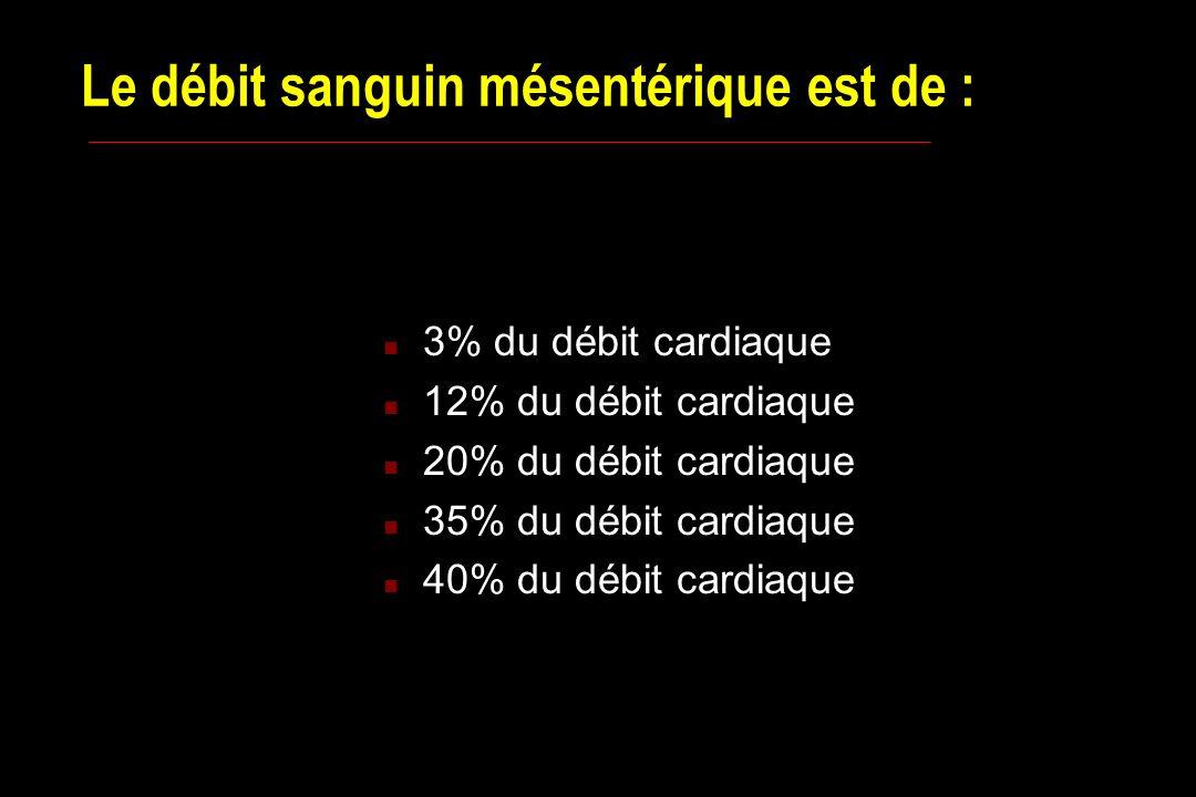 Le débit sanguin mésentérique est de : n 3% du débit cardiaque n 12% du débit cardiaque n 20% du débit cardiaque n 35% du débit cardiaque n 40% du débit cardiaque