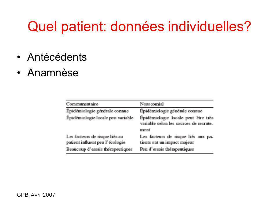 CPB, Avril 2007 Quel patient: données individuelles? Antécédents Anamnèse