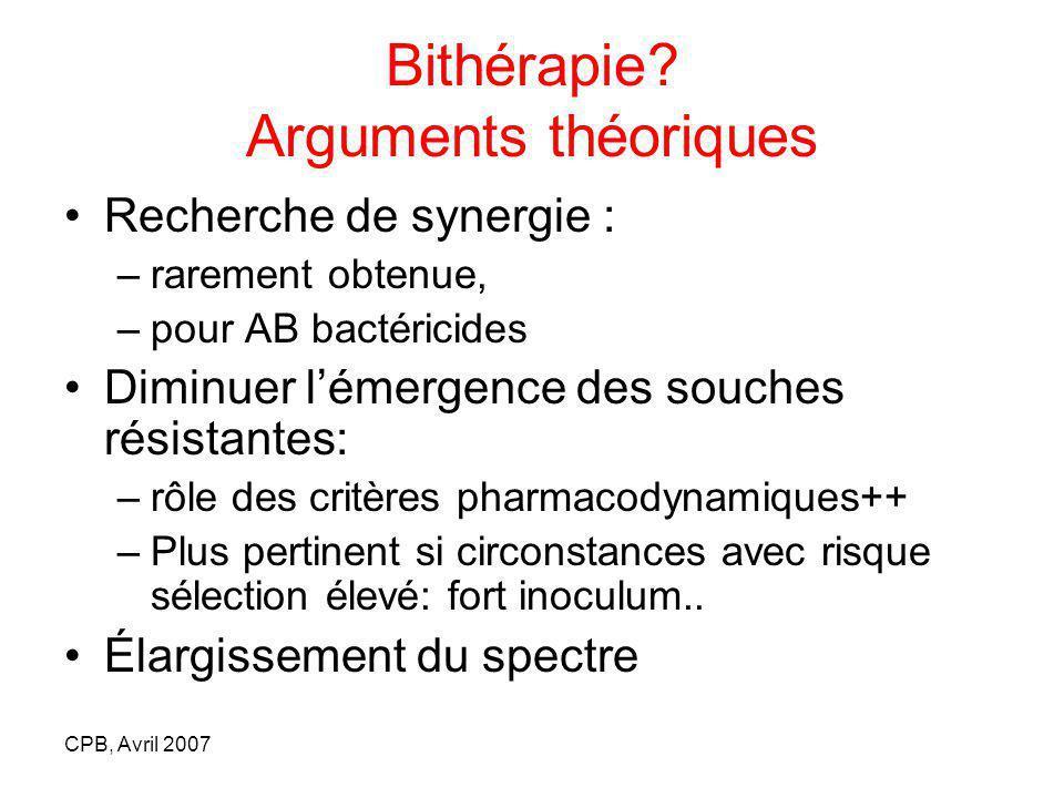CPB, Avril 2007 Recherche de synergie : –rarement obtenue, –pour AB bactéricides Diminuer lémergence des souches résistantes: –rôle des critères pharm