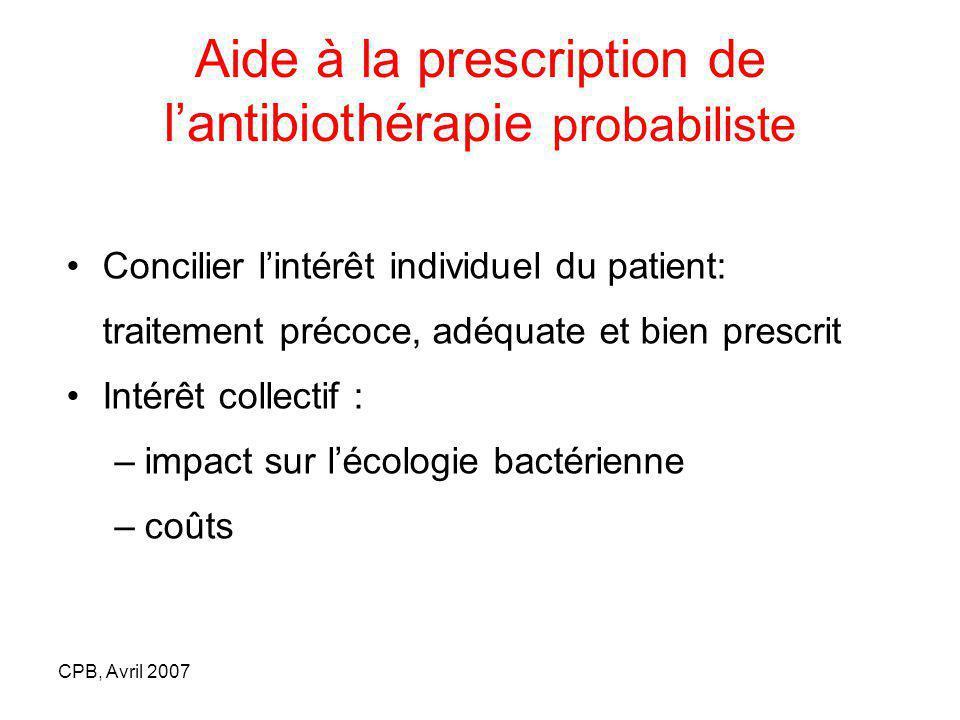 CPB, Avril 2007 Aide à la prescription de lantibiothérapie probabiliste Concilier lintérêt individuel du patient: traitement précoce, adéquate et bien prescrit Intérêt collectif : –impact sur lécologie bactérienne –coûts