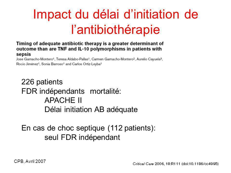 CPB, Avril 2007 Impact du délai dinitiation de lantibiothérapie 226 patients FDR indépendants mortalité: APACHE II Délai initiation AB adéquate En cas de choc septique (112 patients): seul FDR indépendant