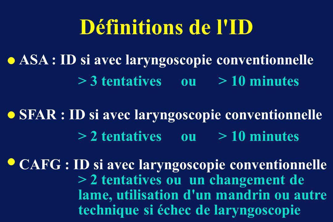 Définitions de l ID ASA : ID si avec laryngoscopie conventionnelle > 3 tentatives ou > 10 minutes SFAR : ID si avec laryngoscopie conventionnelle > 2 tentatives ou > 10 minutes CAFG : ID si avec laryngoscopie conventionnelle > 2 tentatives ou un changement de lame, utilisation d un mandrin ou autre technique si échec de laryngoscopie