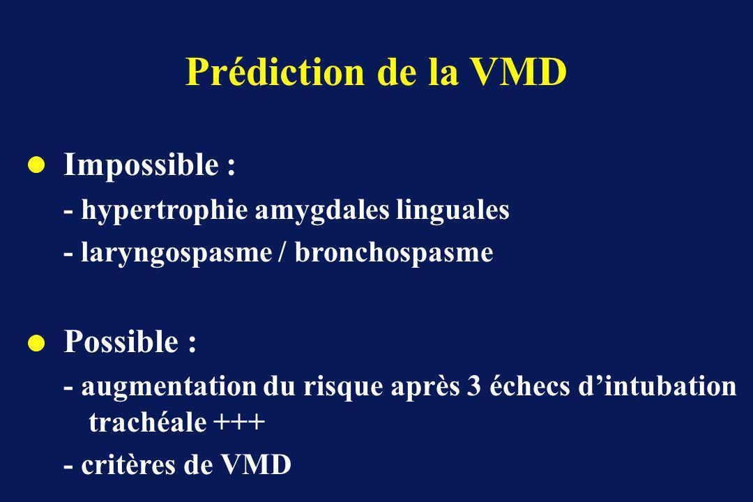 Prédiction de la VMD Impossible : - hypertrophie amygdales linguales - laryngospasme / bronchospasme Possible : - augmentation du risque après 3 échecs dintubation trachéale +++ - critères de VMD