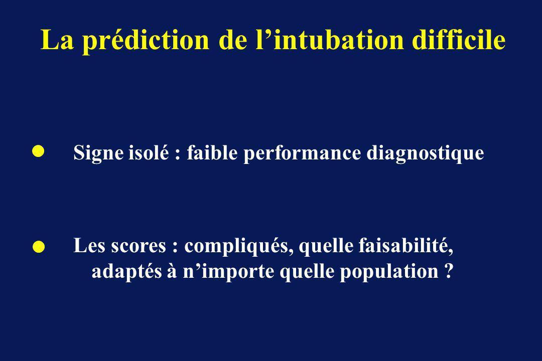 La prédiction de lintubation difficile Signe isolé : faible performance diagnostique Les scores : compliqués, quelle faisabilité, adaptés à nimporte quelle population ?