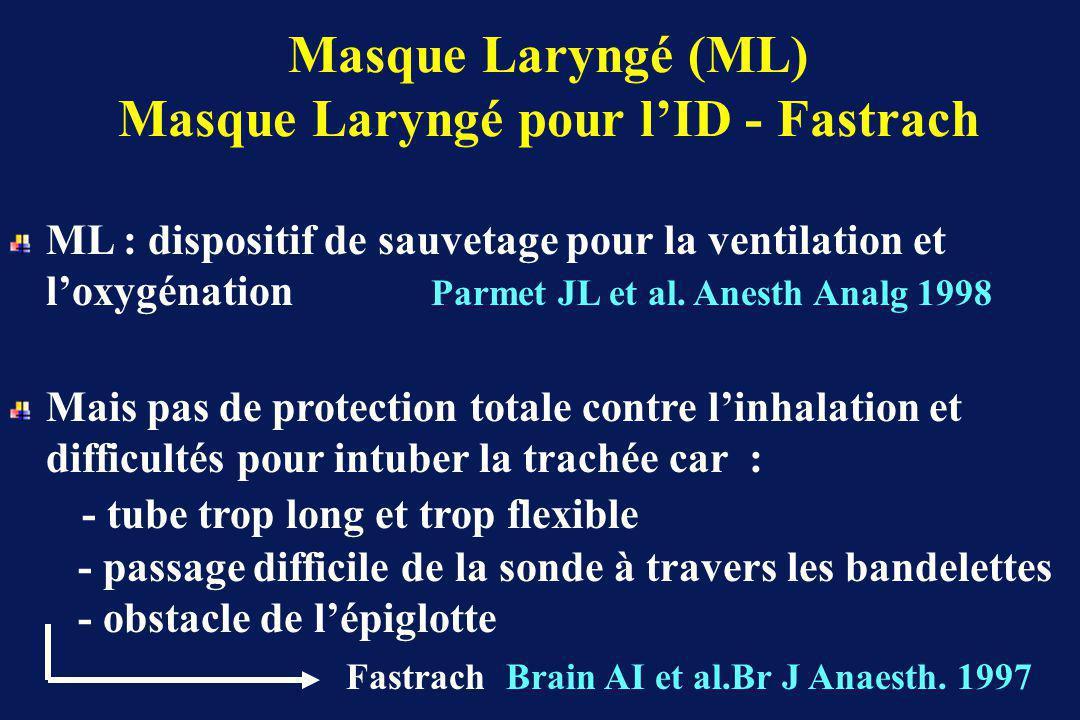 Masque Laryngé (ML) Masque Laryngé pour lID - Fastrach ML : dispositif de sauvetage pour la ventilation et loxygénation Parmet JL et al.