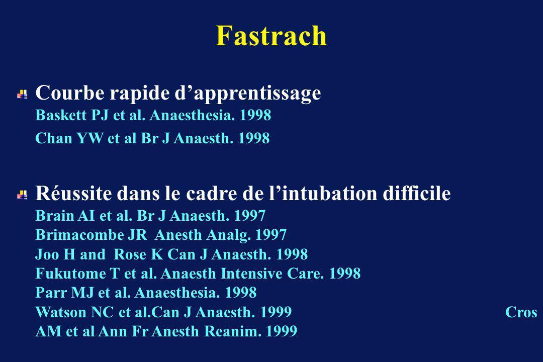 Fastrach Courbe rapide dapprentissage Baskett PJ et al.