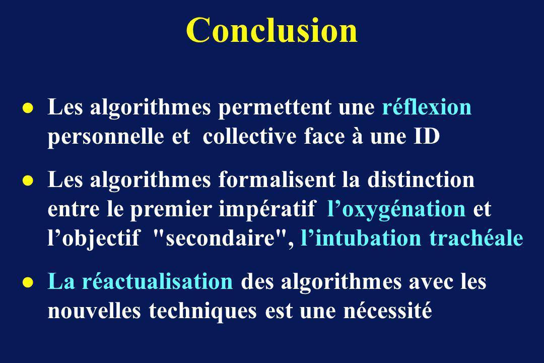 Conclusion l Les algorithmes permettent une réflexion personnelle et collective face à une ID l Les algorithmes formalisent la distinction entre le premier impératif loxygénation et lobjectif secondaire , lintubation trachéale l La réactualisation des algorithmes avec les nouvelles techniques est une nécessité