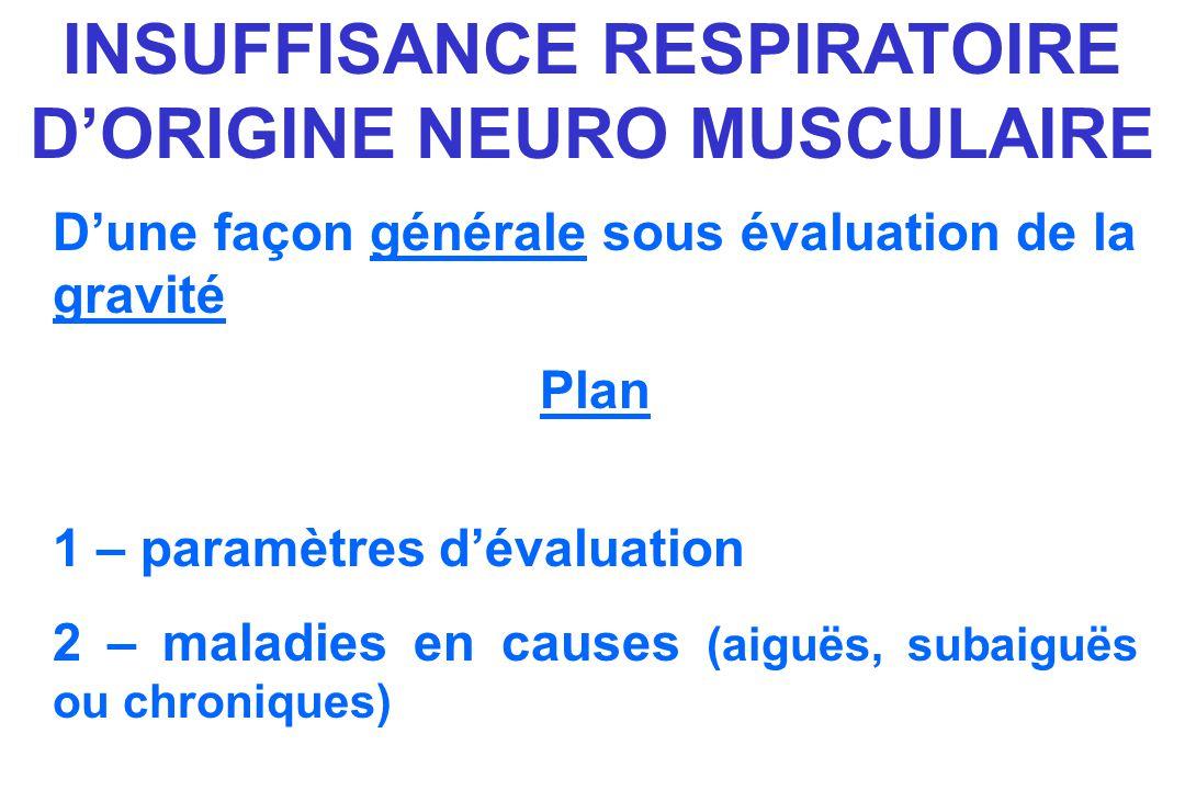 INSUFFISANCE RESPIRATOIRE DORIGINE NEURO MUSCULAIRE Dune façon générale sous évaluation de la gravité Plan 1 – paramètres dévaluation 2 – maladies en