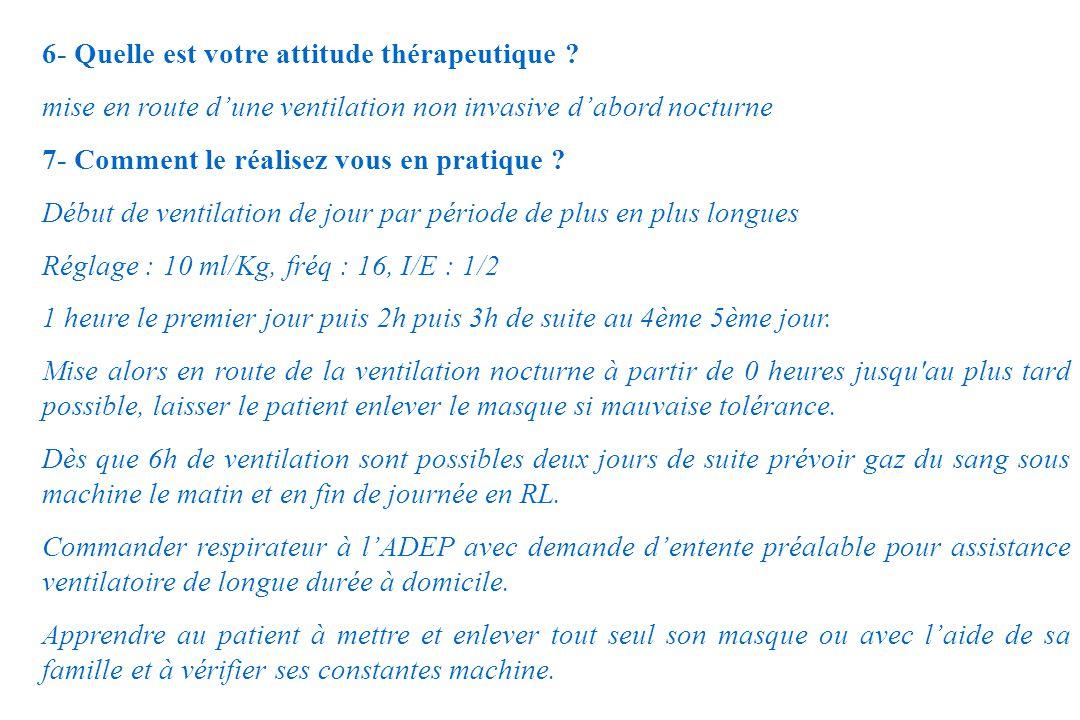 6- Quelle est votre attitude thérapeutique ? mise en route dune ventilation non invasive dabord nocturne 7- Comment le réalisez vous en pratique ? Déb