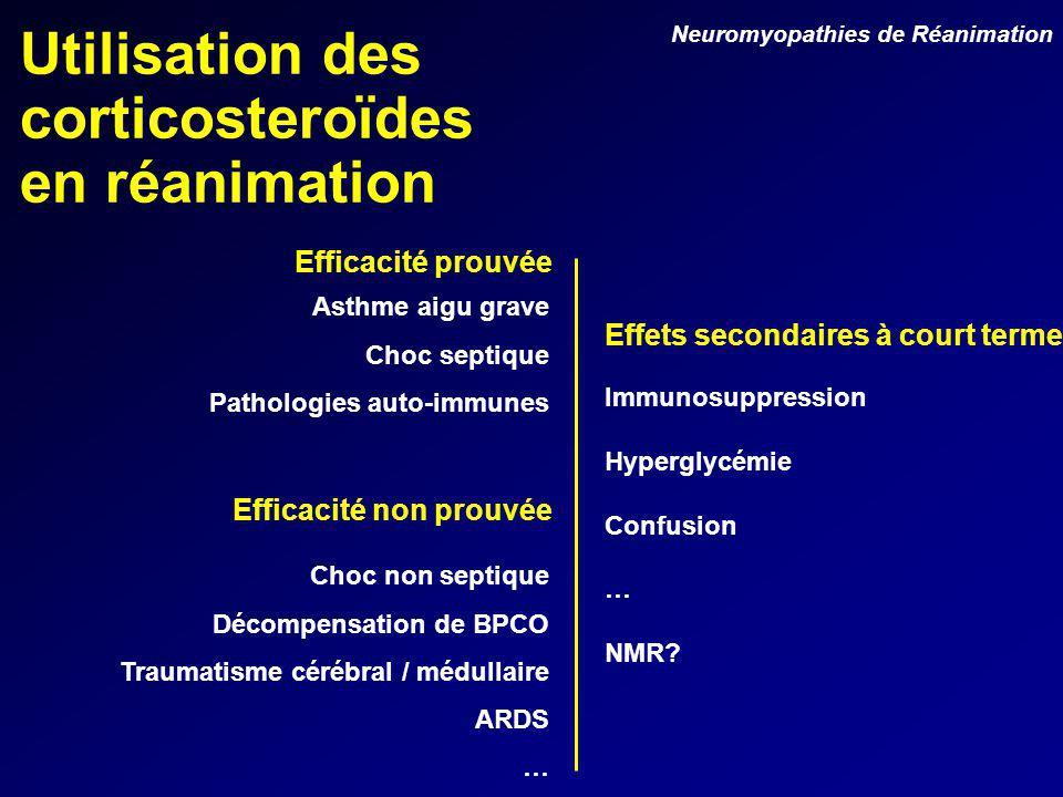 Utilisation des corticosteroïdes en réanimation Asthme aigu grave Choc septique Pathologies auto-immunes Efficacité prouvée Efficacité non prouvée Choc non septique Décompensation de BPCO Traumatisme cérébral / médullaire ARDS … Immunosuppression Hyperglycémie Confusion … NMR.