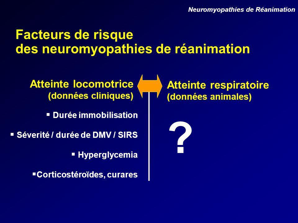 Facteurs de risque des neuromyopathies de réanimation Atteinte locomotrice (données cliniques) Atteinte respiratoire (données animales) Durée immobilisation Séverité / durée de DMV / SIRS Hyperglycemia Corticostéroïdes, curares Neuromyopathies de Réanimation