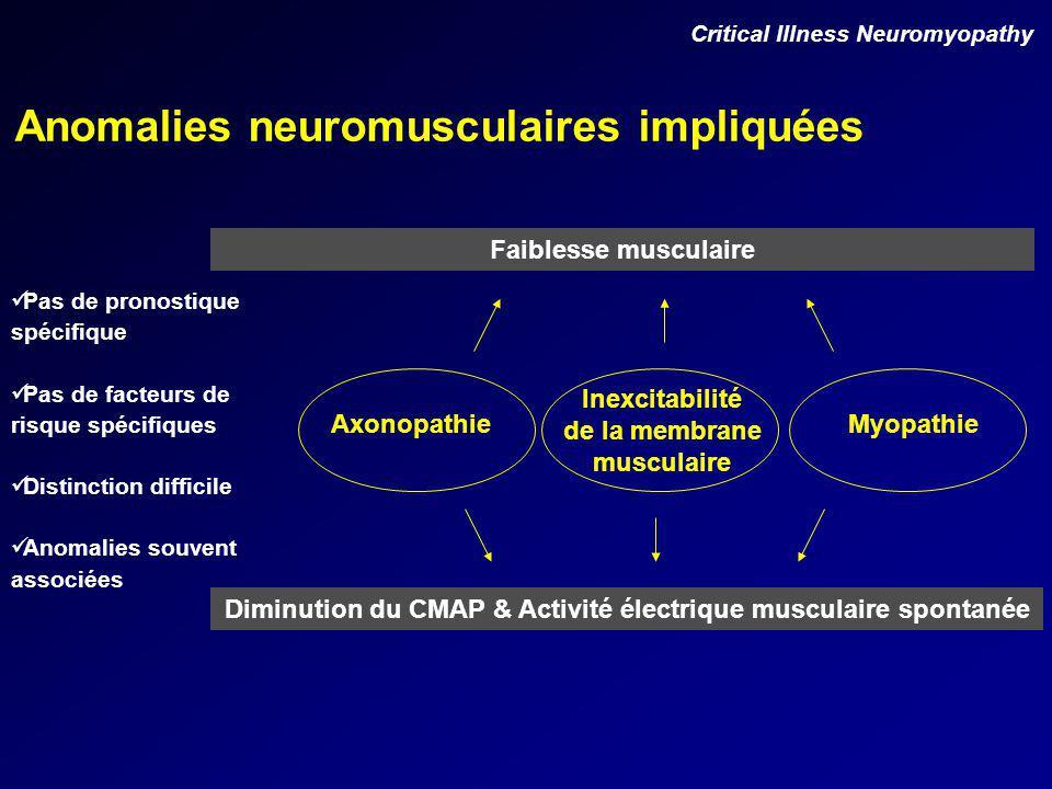 Anomalies neuromusculaires impliquées Critical Illness Neuromyopathy AxonopathieMyopathie Inexcitabilité de la membrane musculaire Faiblesse musculaire Diminution du CMAP & Activité électrique musculaire spontanée Pas de pronostique spécifique Pas de facteurs de risque spécifiques Distinction difficile Anomalies souvent associées