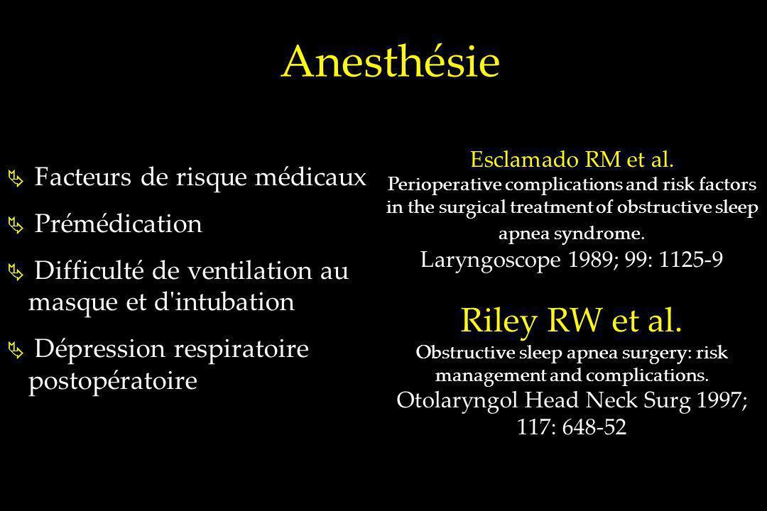 Anesthésie Facteurs de risque médicaux Prémédication Difficulté de ventilation au masque et d'intubation Dépression respiratoire postopératoire Esclam