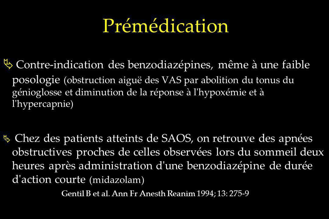 Prémédication Contre-indication des benzodiazépines, même à une faible posologie (obstruction aiguë des VAS par abolition du tonus du génioglosse et d
