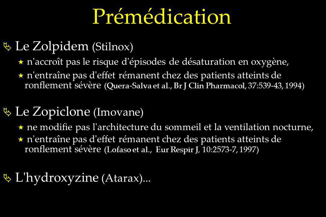 Prémédication Le Zolpidem (Stilnox) n'accroît pas le risque d'épisodes de désaturation en oxygène, n'entraîne pas d'effet rémanent chez des patients a