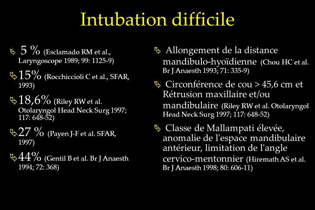 Intubation difficile 5 % (Esclamado RM et al., Laryngoscope 1989; 99: 1125-9) 15% (Rocchiccioli C et al., SFAR, 1993) 18,6% ( Riley RW et al. Otolaryn
